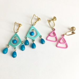 Vintage Screw Back Pink and Blue Earrings